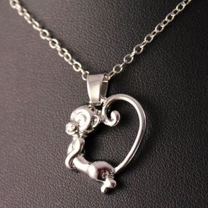 Silver Monkey Heart Tail Pendant Necklace